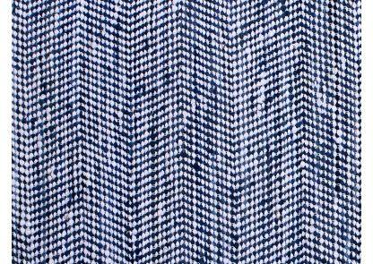 Seaside chindi er tone i tone blåt i sildebensmønster. Vendbart og håndvævet lokalt i indien. Bæredygtigt.