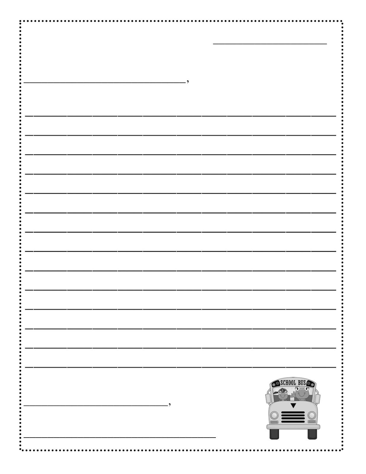 letter writing template printable