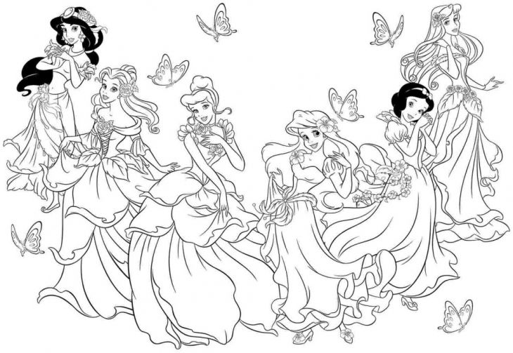 All The Beautiful Disney Princesses Coloring Page To Print | Disney ...