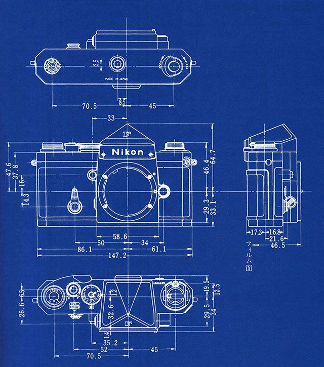 Shooting Film Blueprints of Nikon F SLR Camera Photo Gear - copy digital product blueprint download