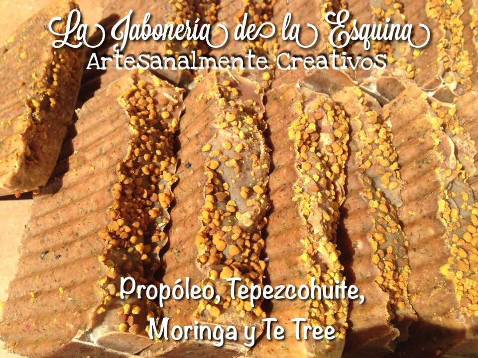 Jabón de Propóleo, Tepezcohuite, Moringa, Te Tree y Polen