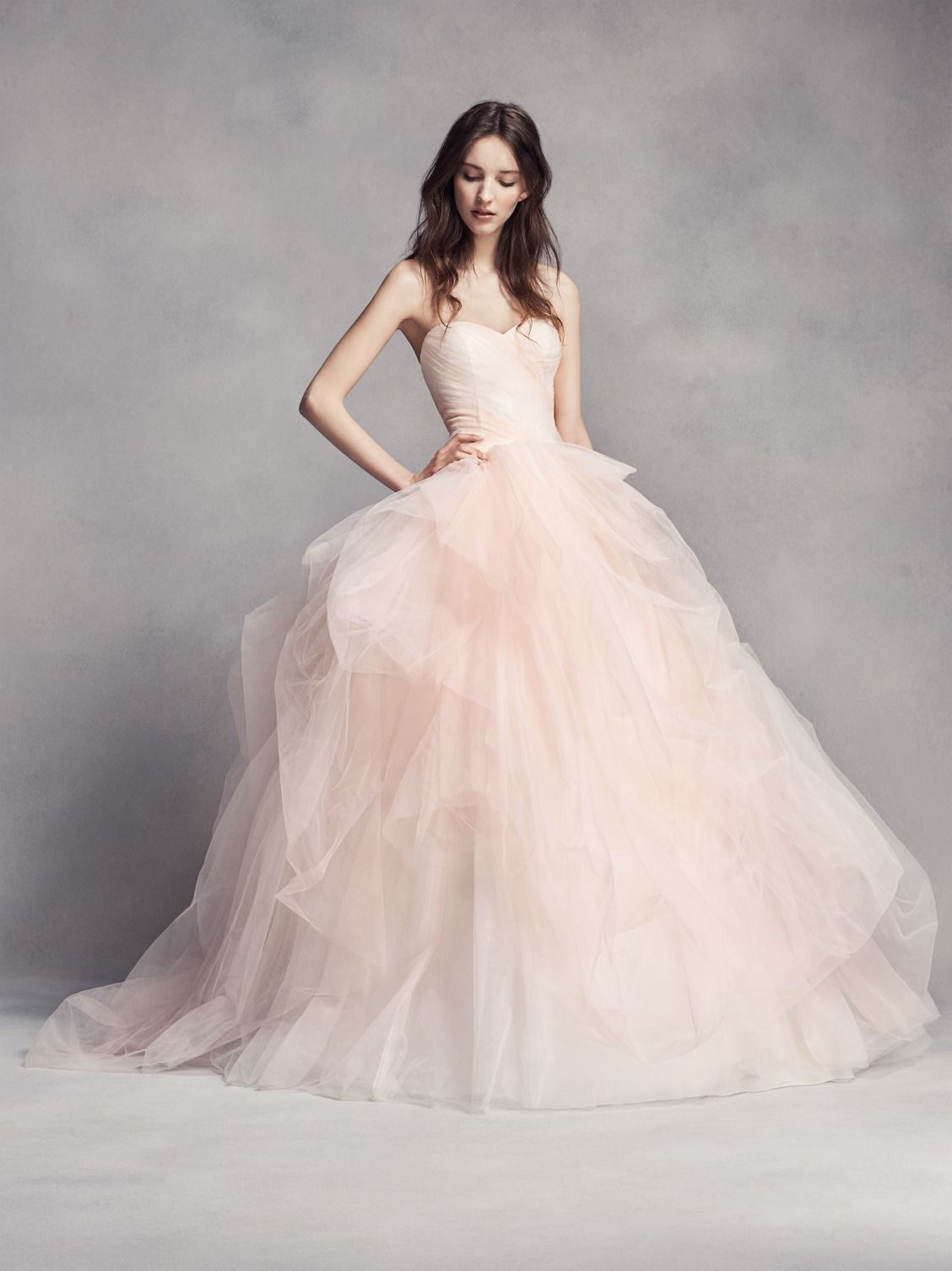 Pretty In Pink Wedding Dress This White By Vera Strapless Sweetheart Neckline Ball Gown Features Ombré Tulle For A Bridal Look That S