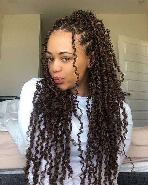 beatiful dark brown passion twist hairstyle for black women #braidedhairstylesforblackwomen