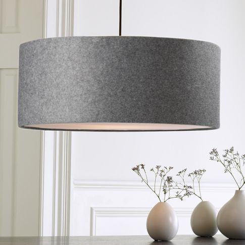 Grey Felt Drum Pendent Dining Room Lighting