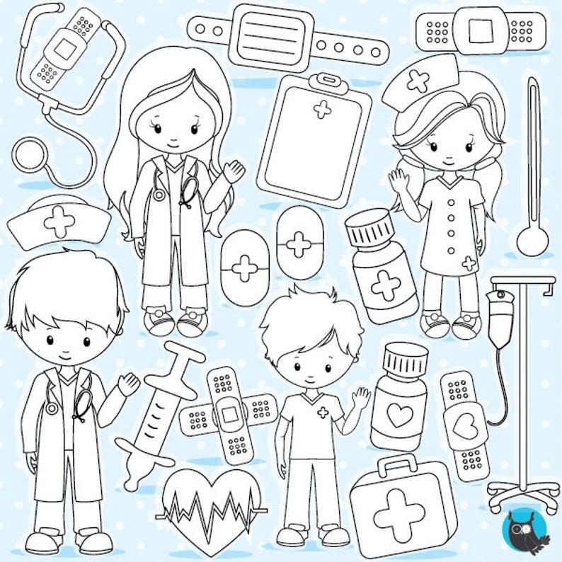 Buy 20 Get 10 Off Hospital Digital Stamp Commercial Use Etsy In 2020 Digital Stamps Digi Stamps Printable Design Paper