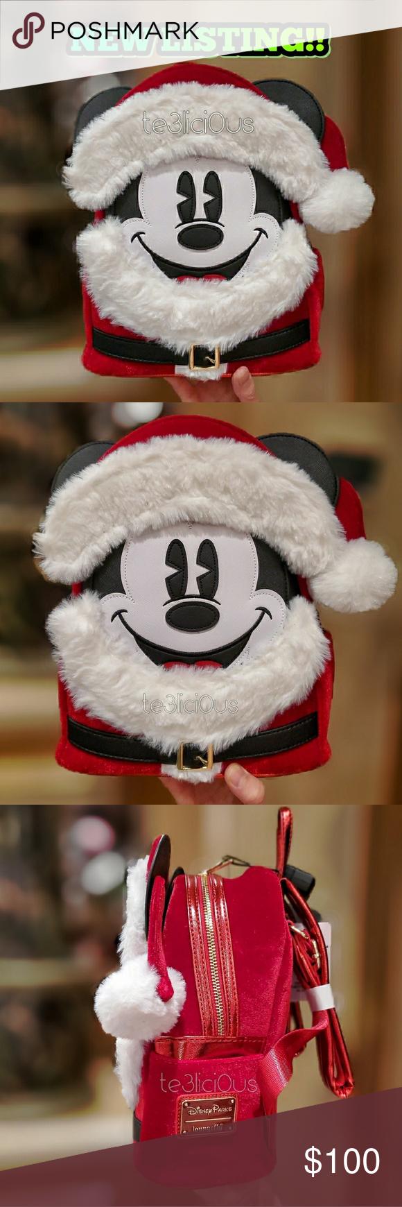 NEW Disney Parks Loungefly Santa Mickey Christmas Holiday Mini Backpack NEW