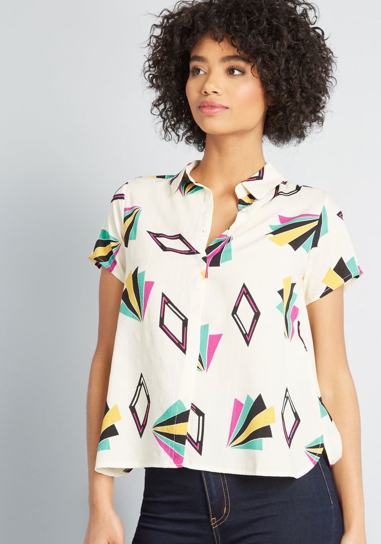 82233e755063 Forever Funky Button-Up Blouse in L - Short Sleeves Button Down Mid-length  by Compania Fantastica from ModCloth