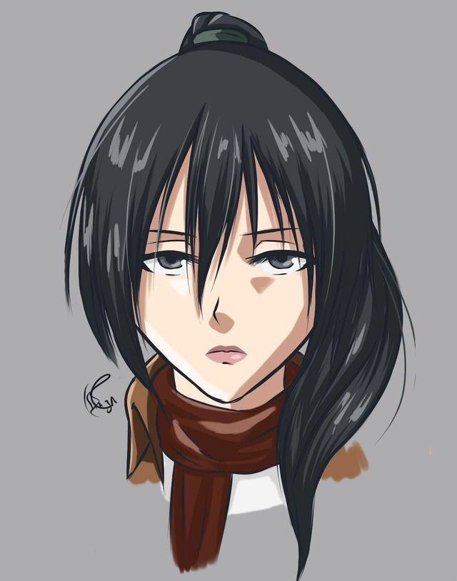 Mikasa Ackerman With Long Hair Anime Character Drawing Attack On Titan Mikasa