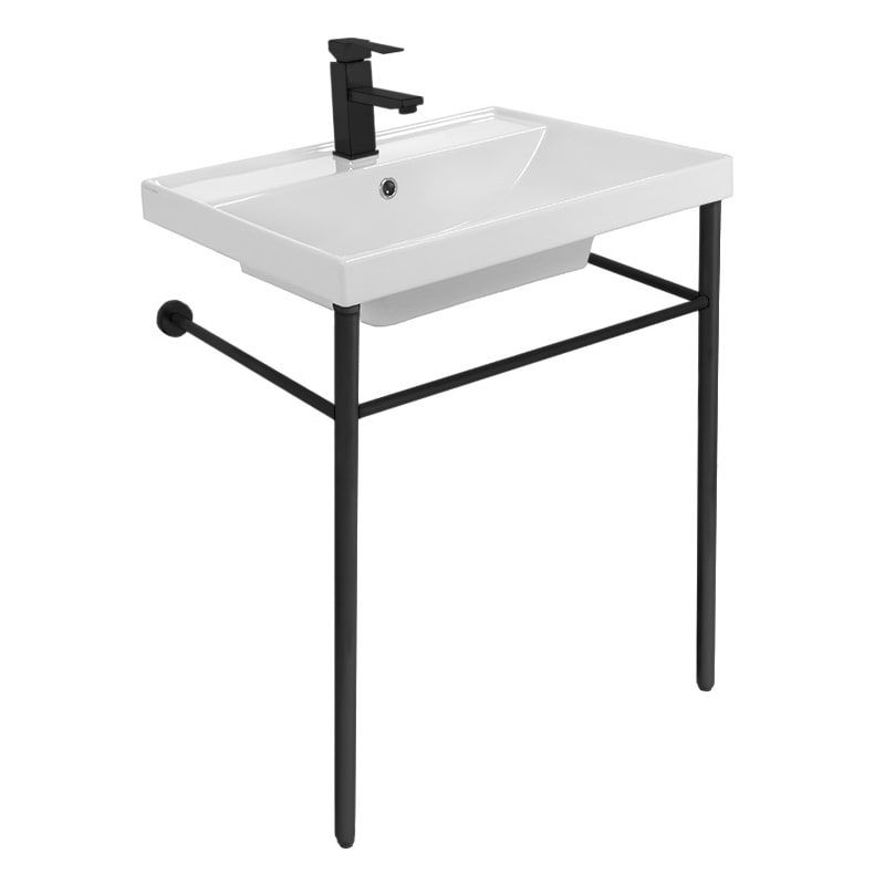 Nameeks 3004 Con Three Hole Scarabeo 24 1 5 Ceramic Bathroom Sink For Console Installation With Faucet In 2021