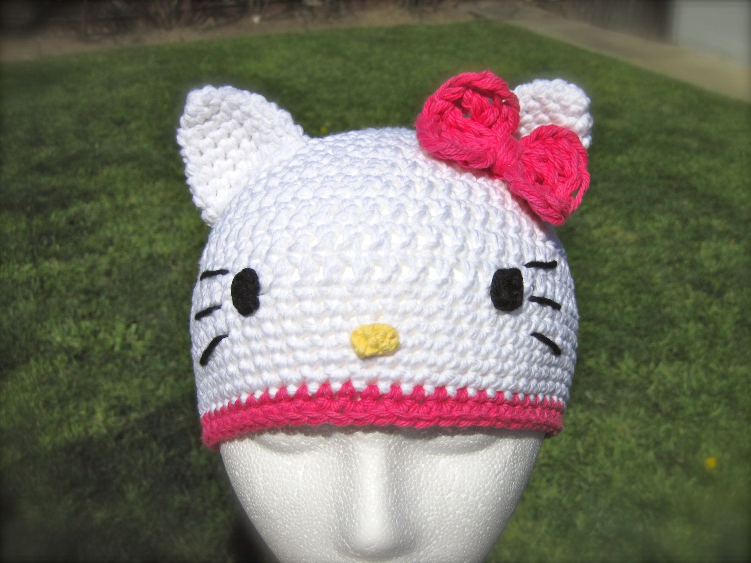 Hello Kitty Hat pattern Crochet PDF - fun to make for kids or adults -  beanie a58cf53501c