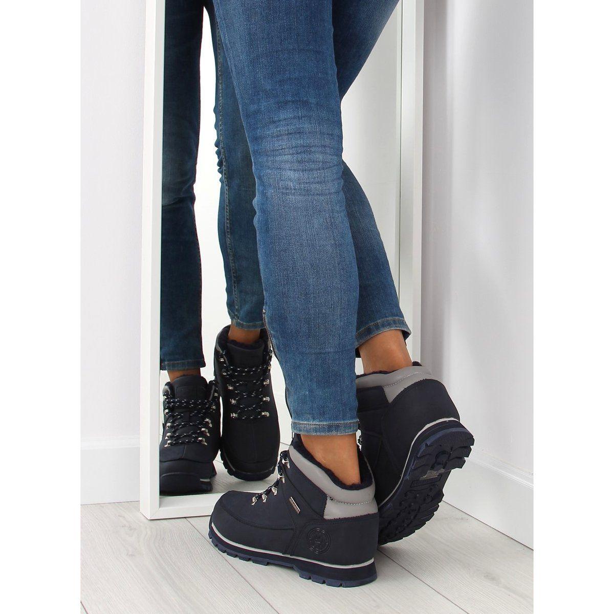 Ocieplane Buty Trekingowe Granatowe Navy Black Jeans Sneakers Wedge Sneaker