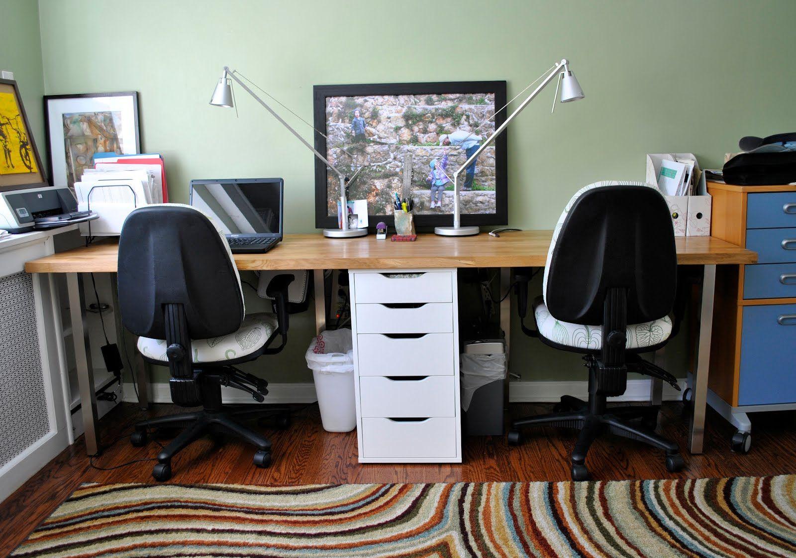 Ikea Hackers Butcher Block Perfect Double Desk Double Desk Office Desk Designs Desk For Two