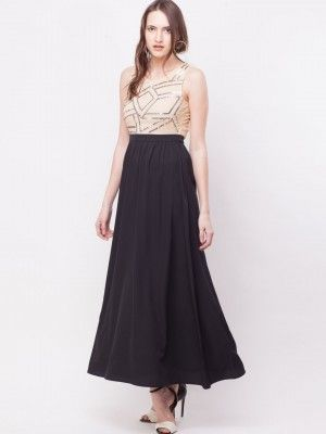 KOOVS Sequined Front Backless Maxi Dress In The Style Of Deepika ...