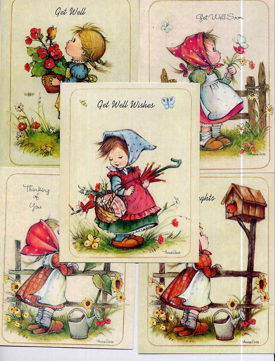 Set Of 5 Vintage Anneliese Hummel Style Small Greeting Cards Get