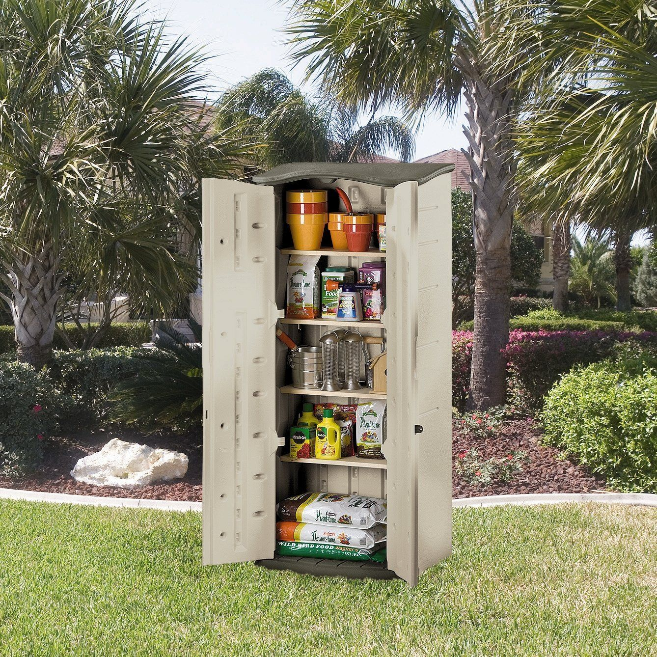 Charming Rubbermaid Plastic Vertical Outdoor Storage Shed, Foot   Itu0027s The Perfect  Size For Storing Long Handled Tools And Smaller Outdoor Items.