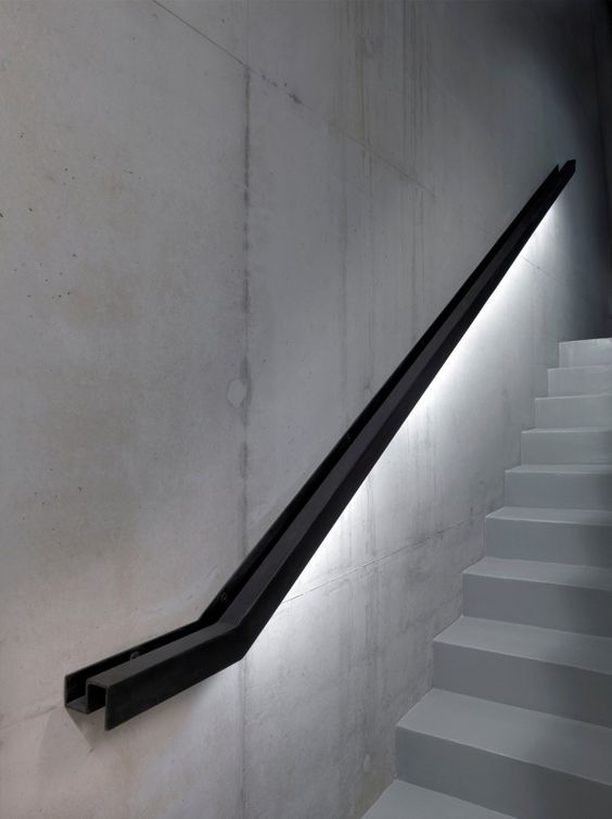 Lighting Basement Washroom Stairs: 13 Industrial Metal Handrail With LED Lights Underneath