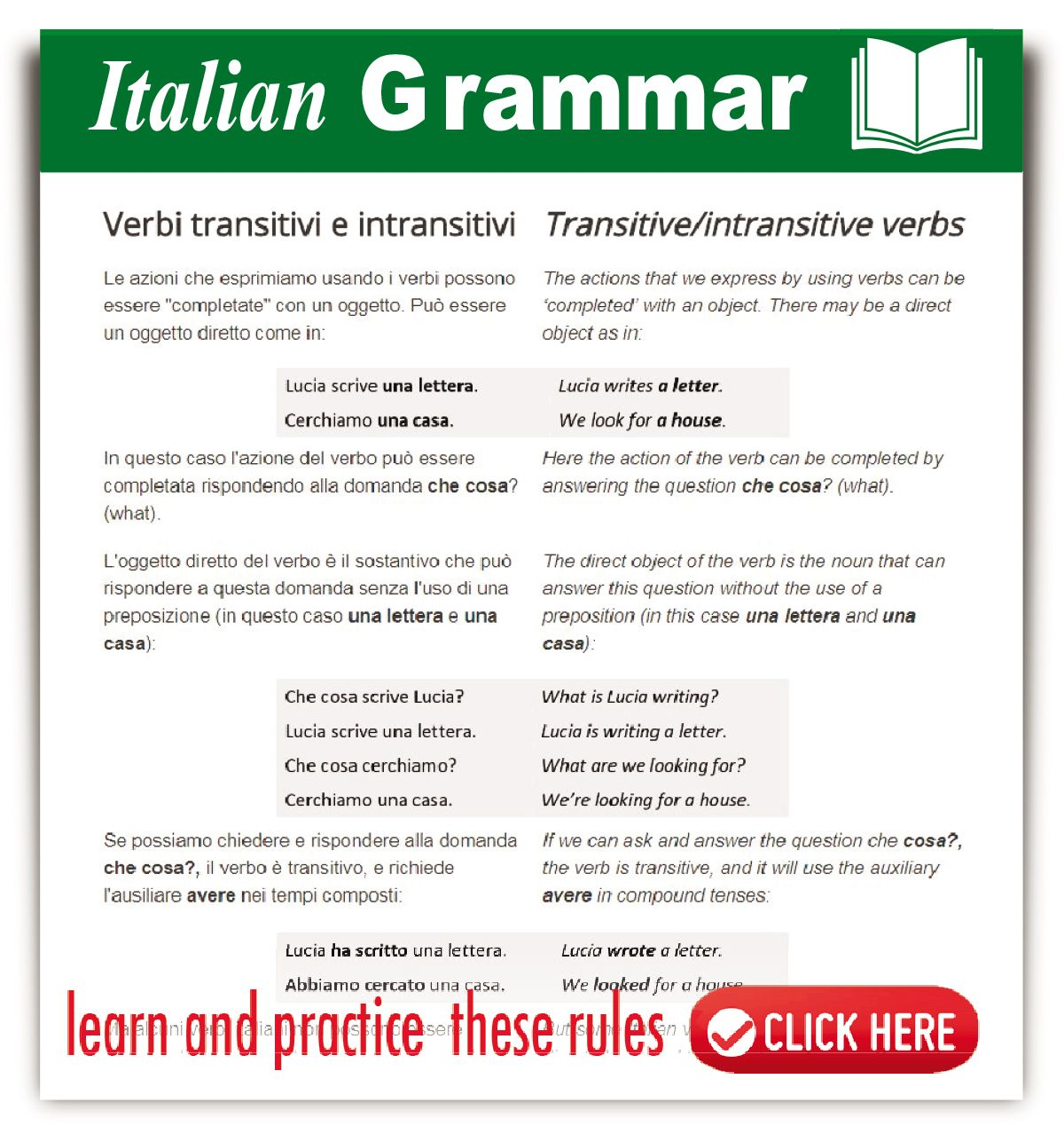 Workbooks transitive and intransitive verbs worksheets : Italian Transitive / Intransitive Verbs - #learnitalian ...