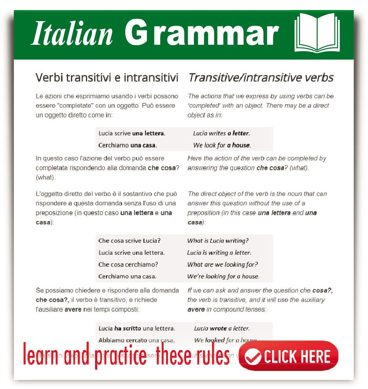 Italian Transitive Intransitive Verbs