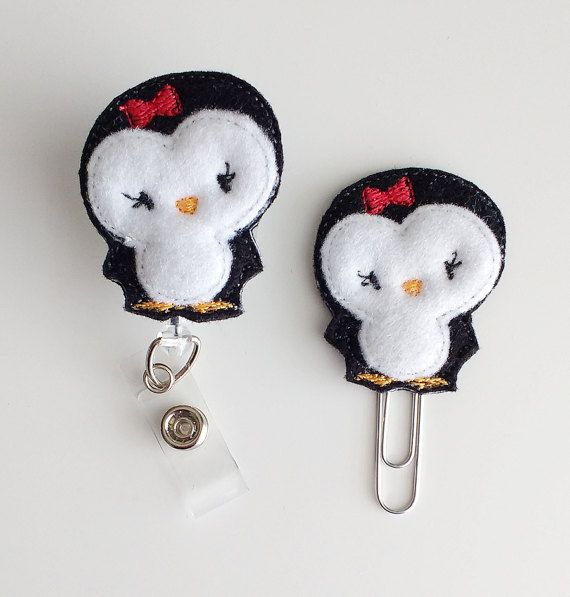 Penguin Feltie Paperclip | Badge Reel Felt Badge Reel | Badge Holder | Lanyard | Planner Clip | Planner Accessory | Felt Penguin