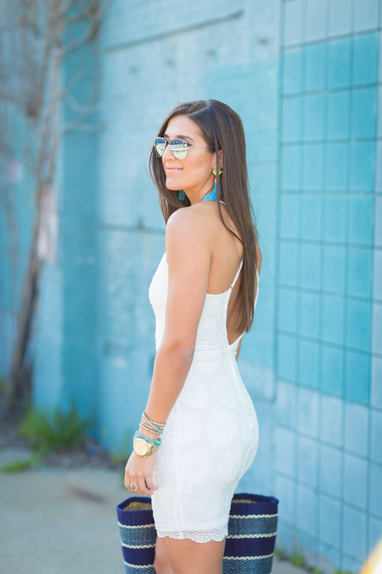 White Lace Dress | Turquoise tassel earrings, Straw tote and Tassel ...