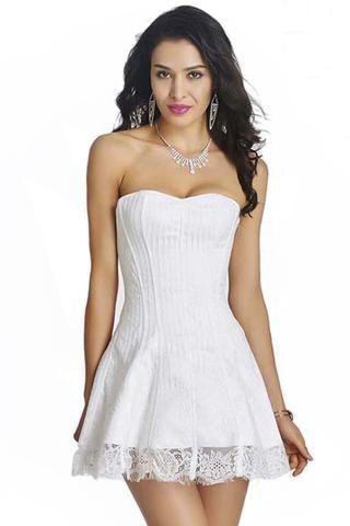 white strapless stripe lace corset dress  corset dress
