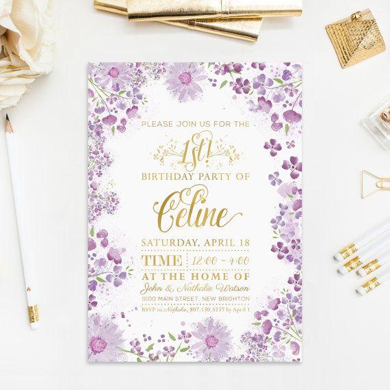 1 Geburtstag Einladung Aquarell violett Blumen von froufroucraft