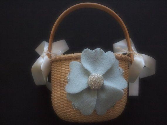 Flower Girl Basket Sea Foam Green Wedding by ArtisanFeltStudio