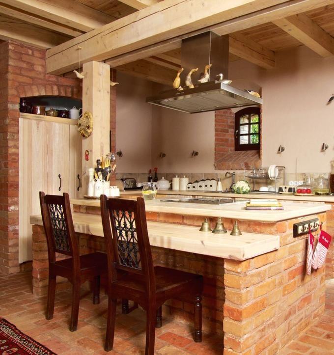 Kuchnia rustykalna Aranżacja kuchni w cegle  Home and   -> Kuchnia Mala Z Barkiem