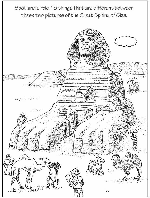 Spot The Difference Sphinx 2 Egypte Kleurplaten Geschiedenis