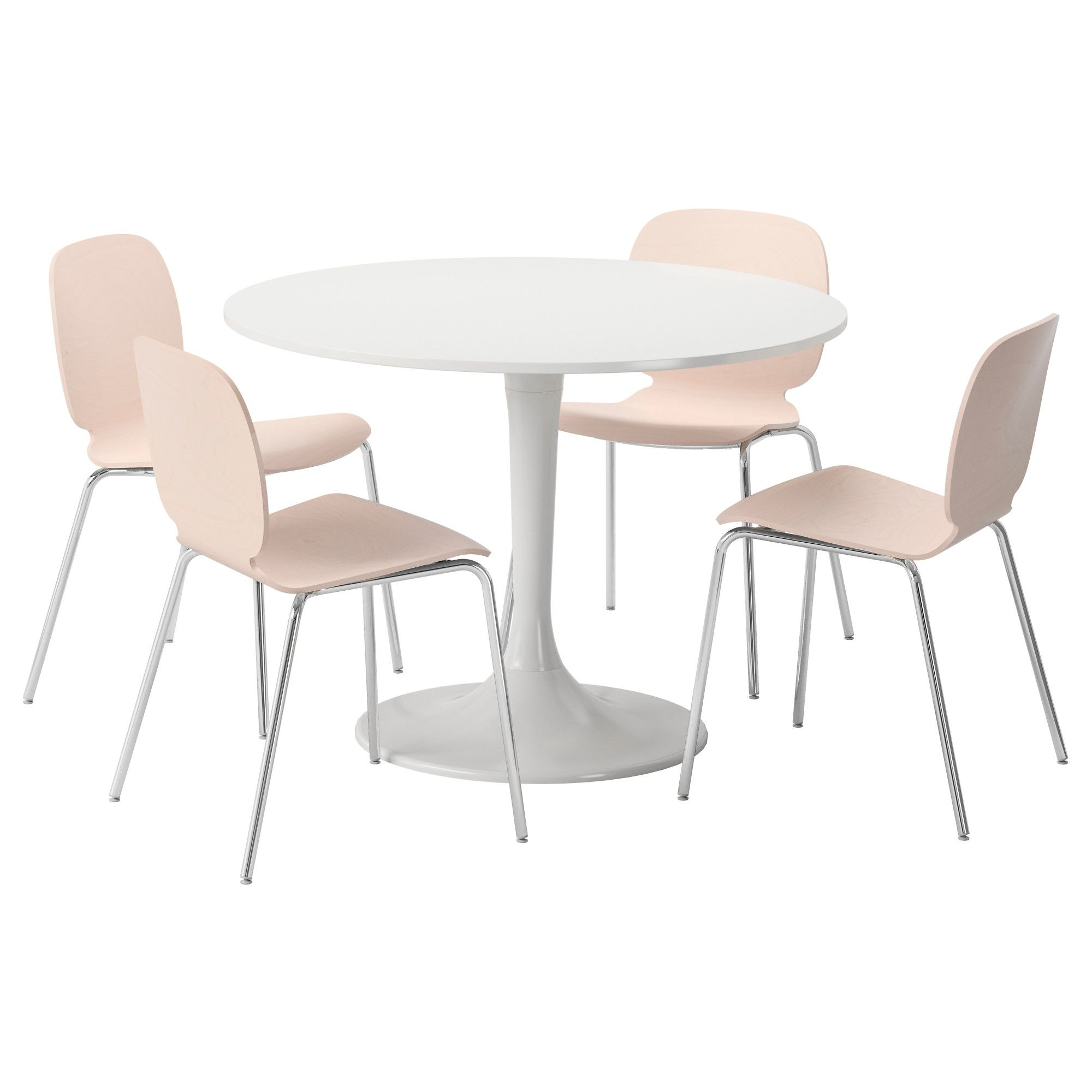 DOCKSTA Table and 4 chairs White/birch IKEA