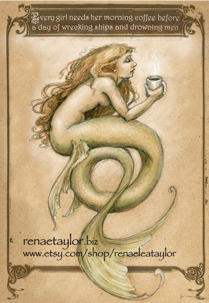 Coffee Mermaid by Renae Taylor by renaeleataylor on Etsy https://www.etsy.com/ca/listing/73672226/coffee-mermaid-by-renae-taylor