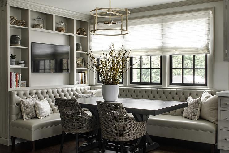 Stunning Tufted Dining Banquette Features A Gray Leather