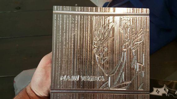 Check out this item in my Etsy shop https://www.etsy.com/listing/271526194/aluminum-majin-vegeta-plaque