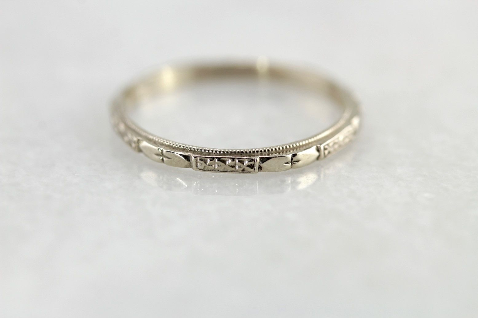 Portsmouth Nh Market Square Jewelers White Gold Forget Me Not Wedding Band The Cora Retro Era Remake By Elizabe White Gold Engagement Rings Wedding Bands