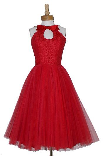 Vintage 1950's red tulle party dress with keyhole neckline