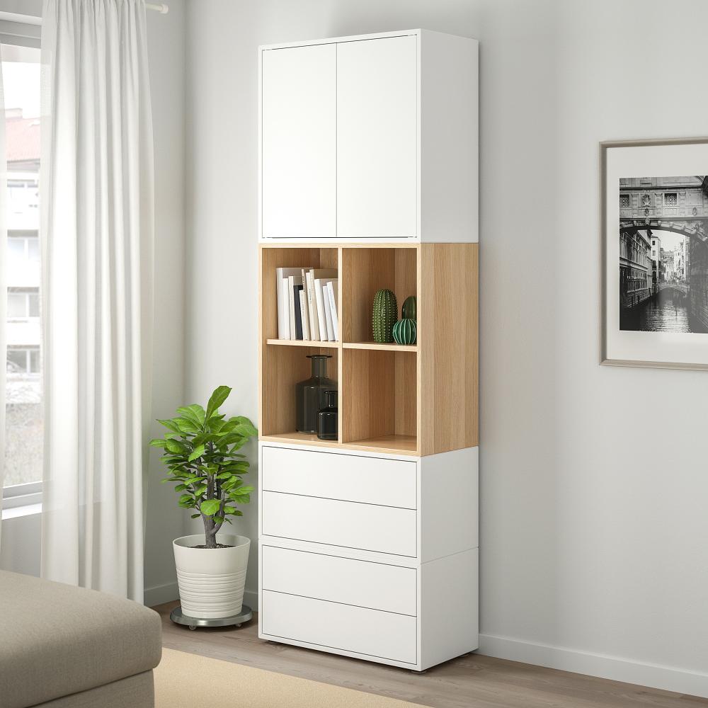Eket Storage Combination With Feet White White Stained Oak Effect Ca Ikea Eket Ikea Eket Ikea
