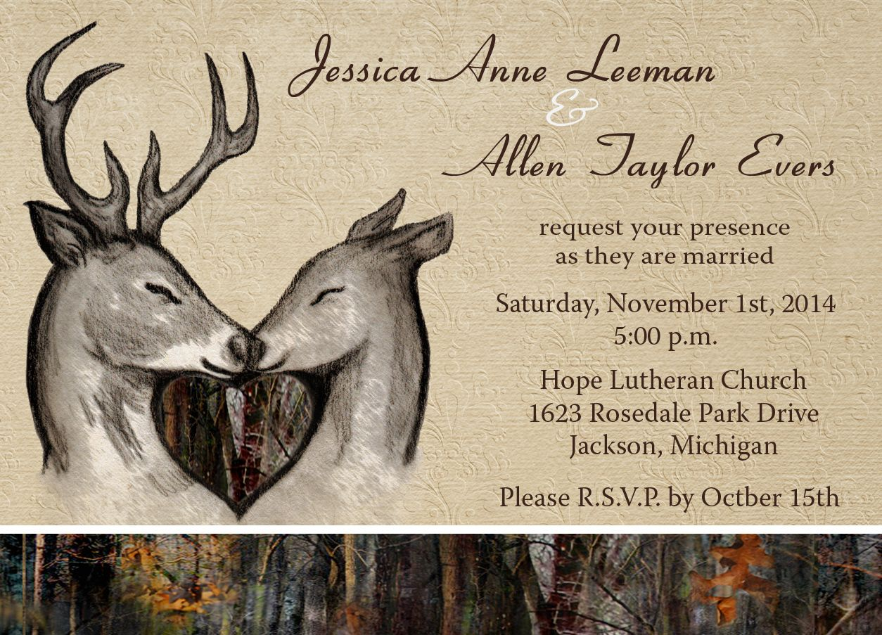 Camo \u0026 Deer Wedding Invitations (12 MINIMUM) | Camo, Themed ...