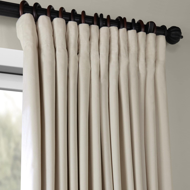 Velvet Blackout Drapes With Pole Pocket Extra Wide Ivory Extra Wide Curtains Velvet Curtains Custom Drapes