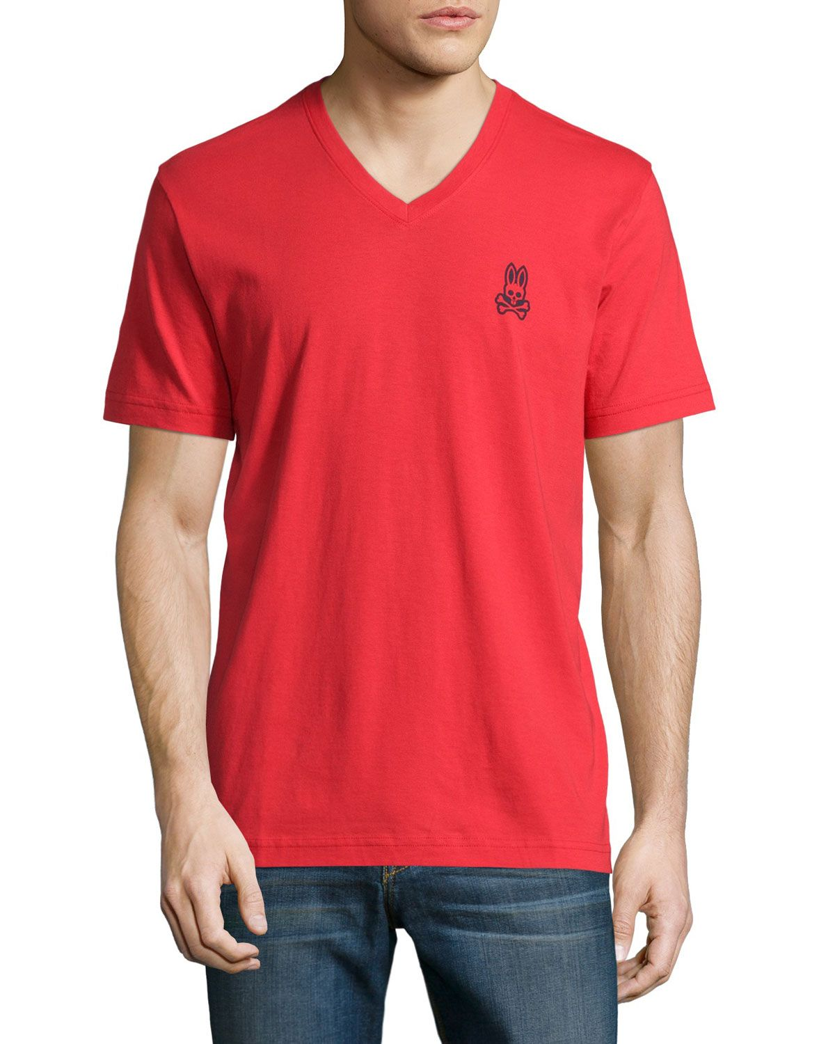 red polo v neck t shirt