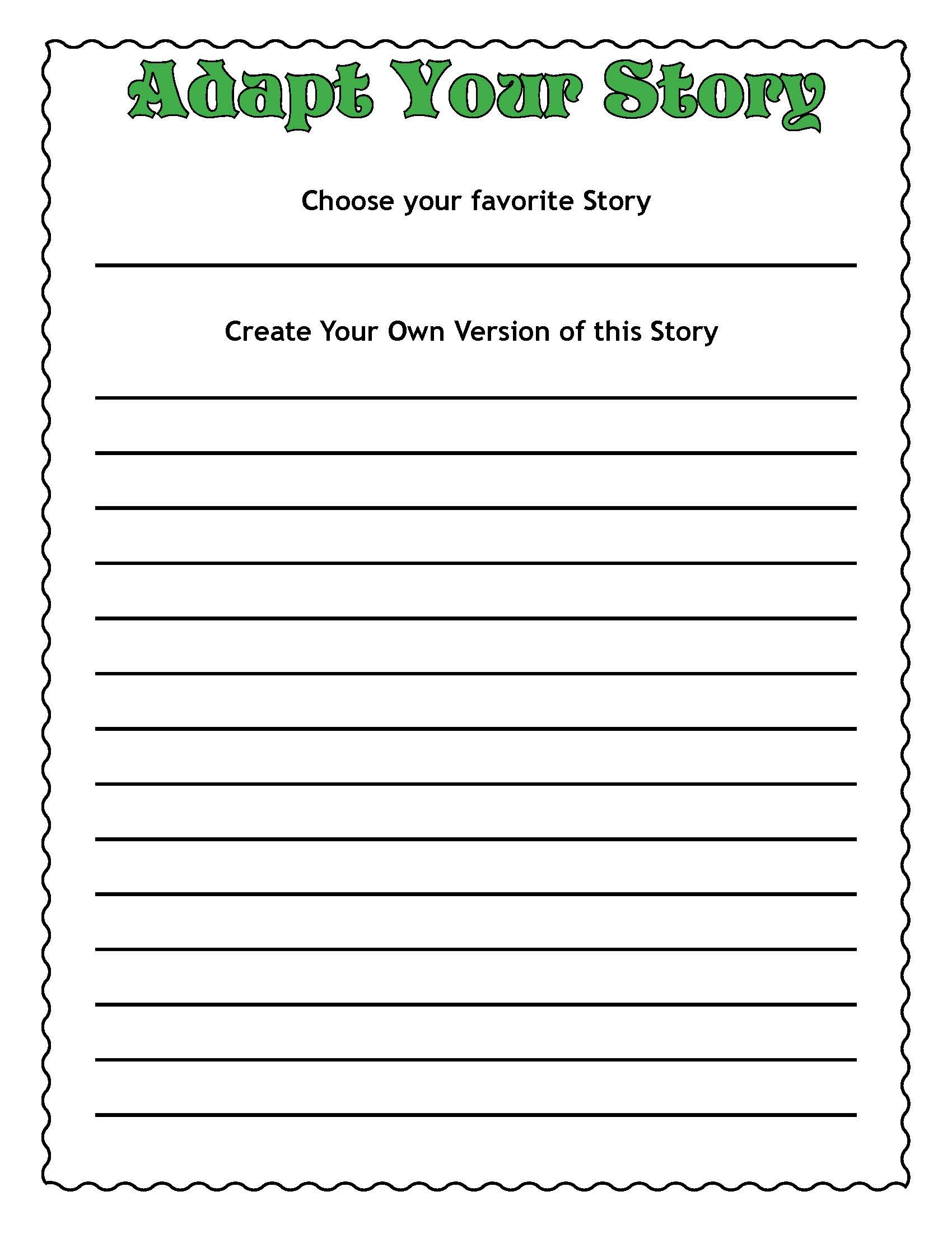 A Fun Common Core Worksheet To Create Your Own Story
