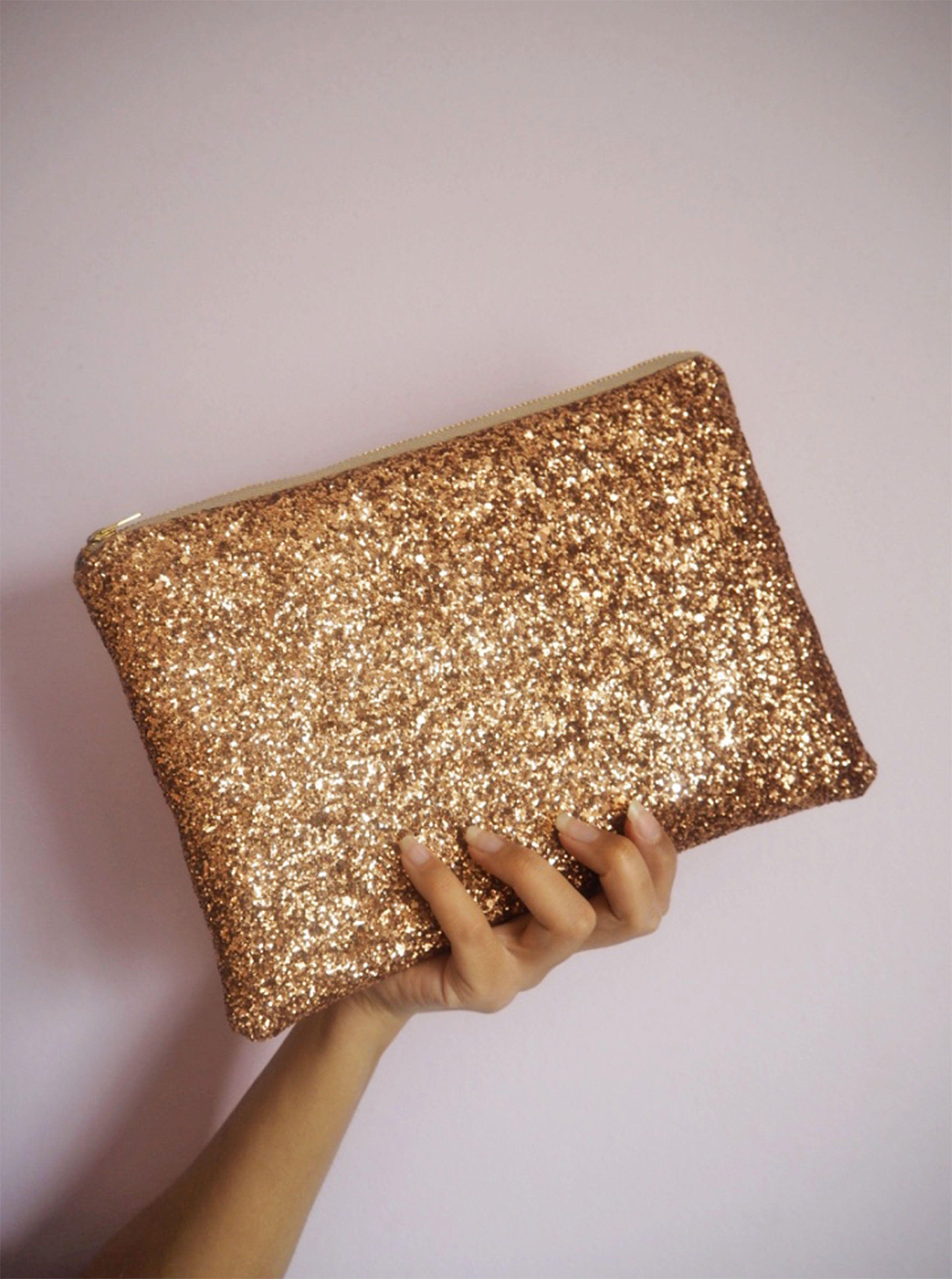 e8c9210e7d9 Rose Gold Glitter Clutch Bag available on https://marketplace.asos.com