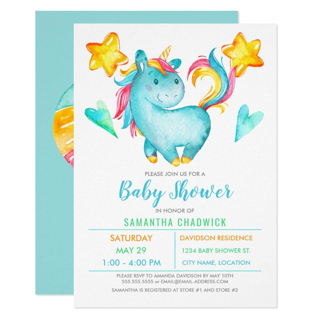 Magical Boys Unicorn Baby Shower Invitation in 2020