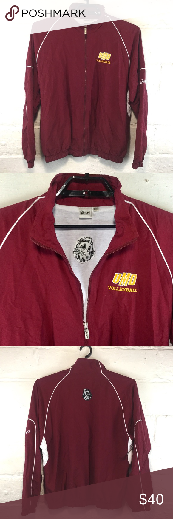 Umd Volleyball Asics Offical Warm Up Jacket Size L Jackets Asics Volleyball Warm Ups