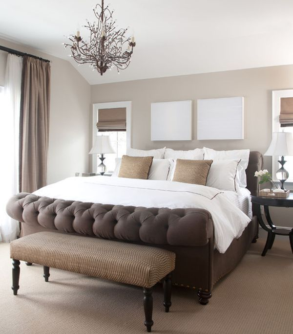 Elegant White Brown Bedroom Chic Design In Traditional Classic Style ...
