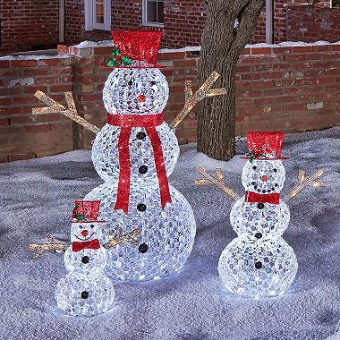 members mark 3 piece illuminated crystallized snowman family sams club snowman decorations outdoor - Sams Club Outdoor Christmas Decorations
