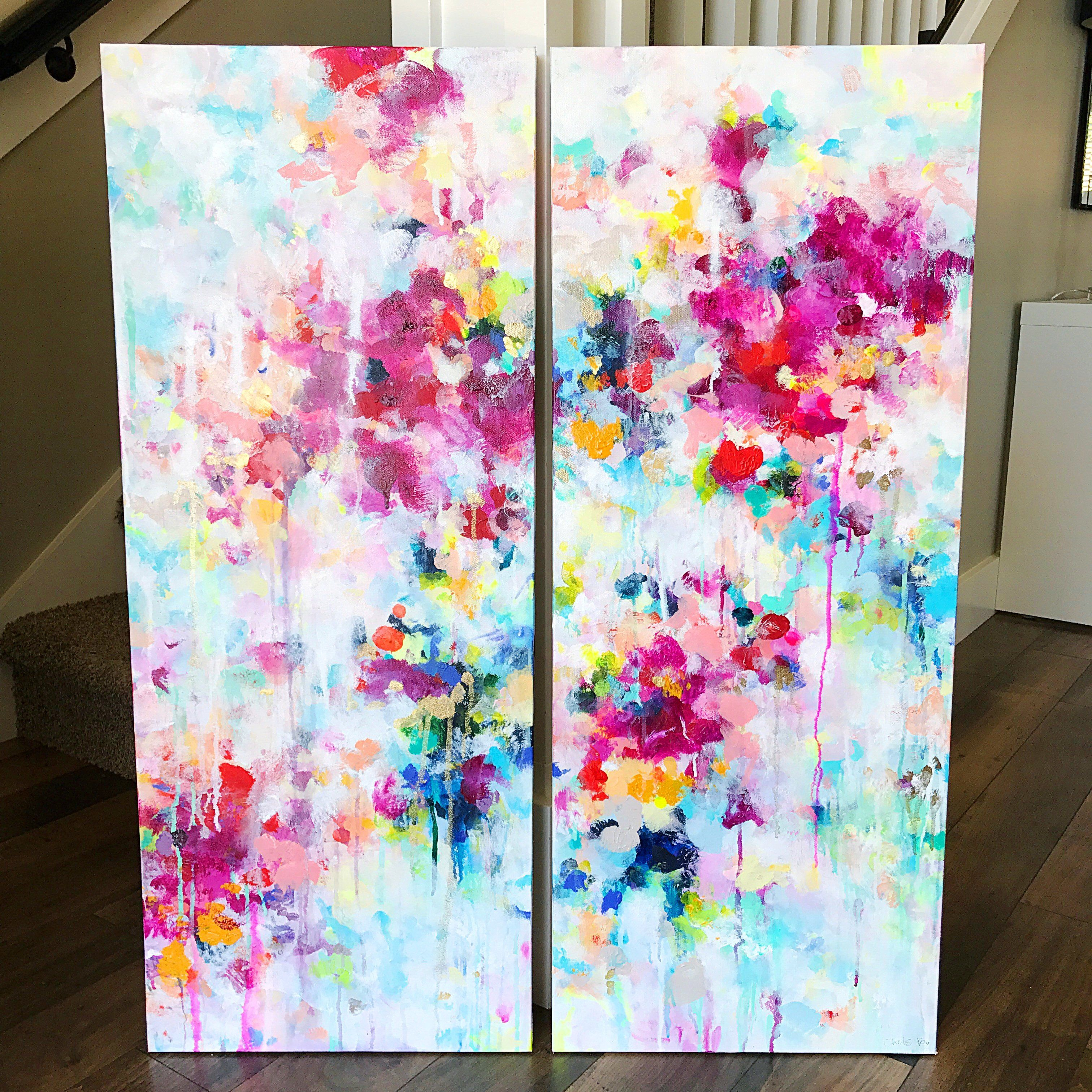 """'Blossoms #6' 2-16x40"""" Original Paintings (With Images"""