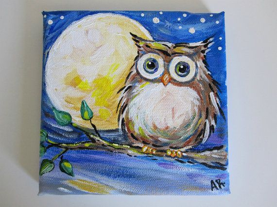 Owl Painting On Canvas Night Original Por IntoTheBluePaintShop