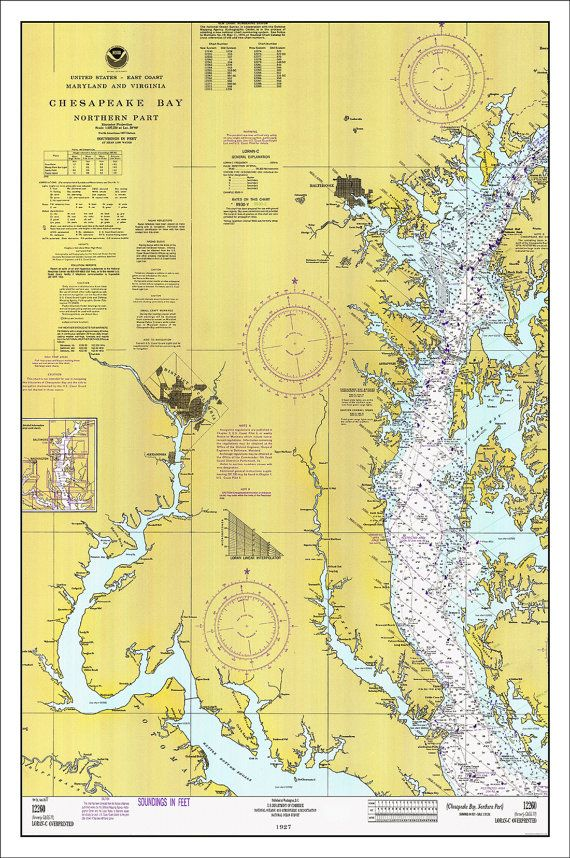 Chesapeake Bay Nautical Chart, Nautical Chart, Chesapeake Bay ...