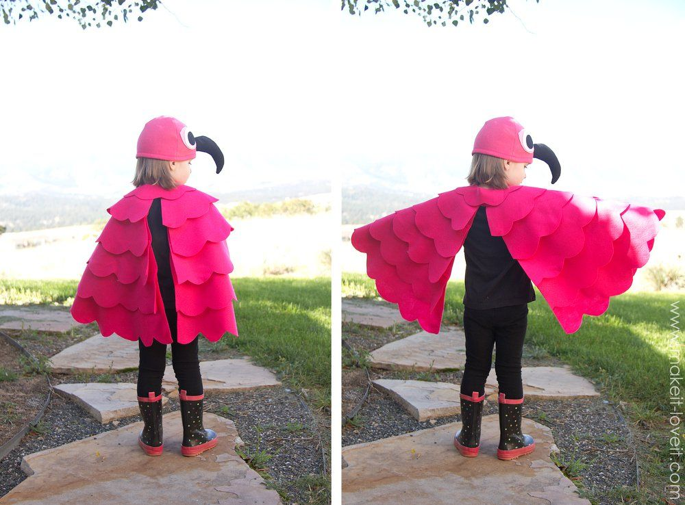 A simple DIY Flamingo Costumefor any age! --- Make It and Love - no cost halloween costume ideas