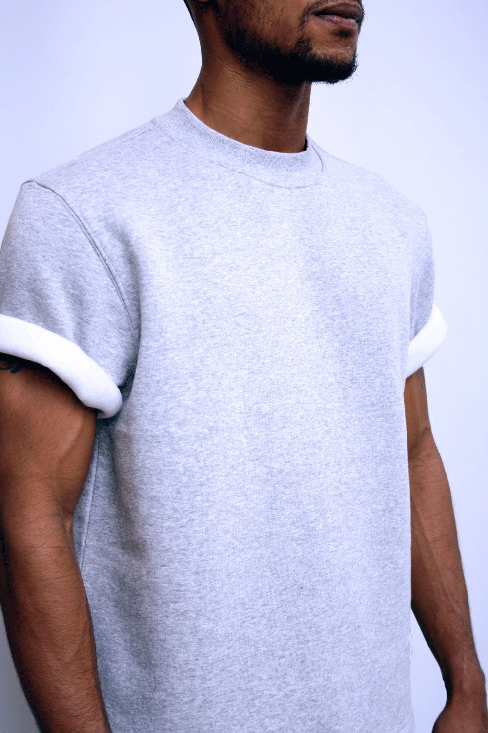 Black t shirt rolled up sleeves - Minimal Jersey Kanye West Fashion Modern Rolled Up Tee